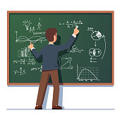 Business school professor teaching explaining and writing formula on chalkboard. Business man teacher standing at class blackboard. Flat style isolated vector character illustration on white background.