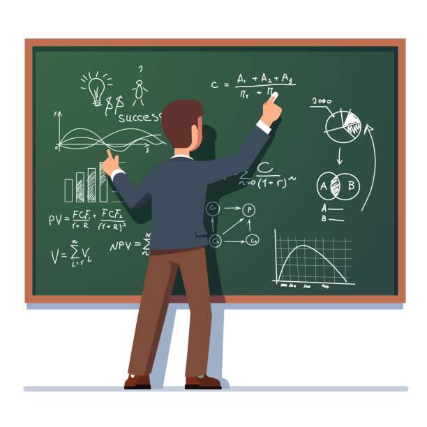 ilustrações, clipart, desenhos animados e ícones de professor da escola de negócios ensino explicando e escrevendo a fórmula na lousa de classe. ilustração de lisa vector clipart. - professor
