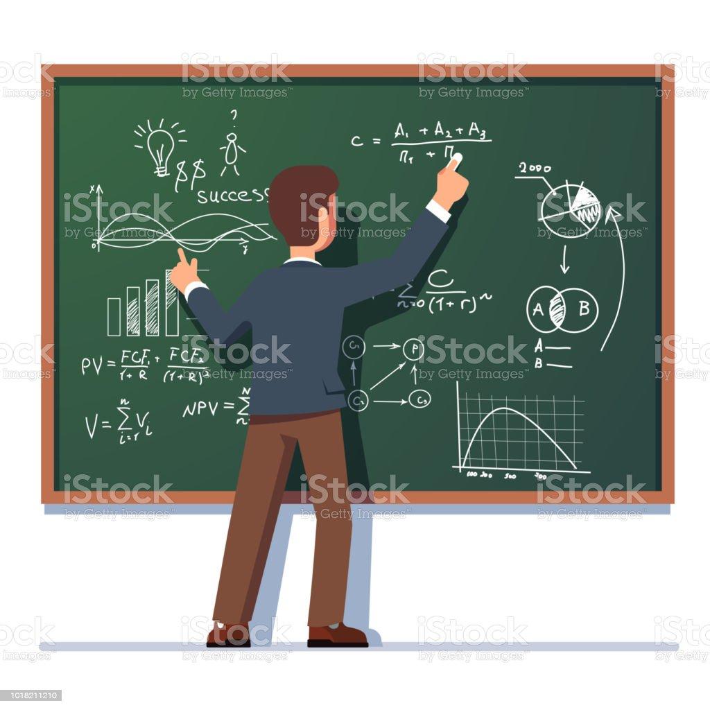 Business school professor teaching explaining and writing formula on class chalkboard. Flat vector clipart illustration. vector art illustration
