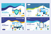 Business school website templates set. Business protection, insurance coaching vector landing page. Time management seminar web banner with copy space. Teamwork. Cartoon characters with animals heads