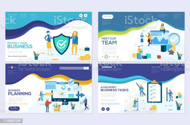 Business school website templates set business protection insurance vector id1149031061?b=1&k=6&m=1149031061&s=612x612&h=5xuxhizb oxuwhex54uaumv7wto 3voznwl4h x41ng=