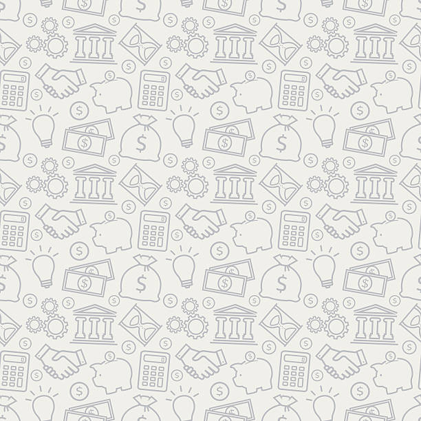 Business seamless pattern. Vector background. Business and finance seamless pattern. Background with line icons for business theme. Vector illustration. budget patterns stock illustrations