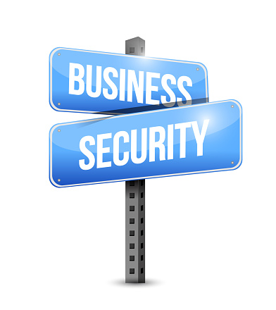 Business security road sign illustration