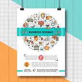 Vector business seminar poster templates A4 size. Shopping, e-commerce and marketing isolated line art icons. Design mock-up flyers, banners, covers, catalog on creative wooden background