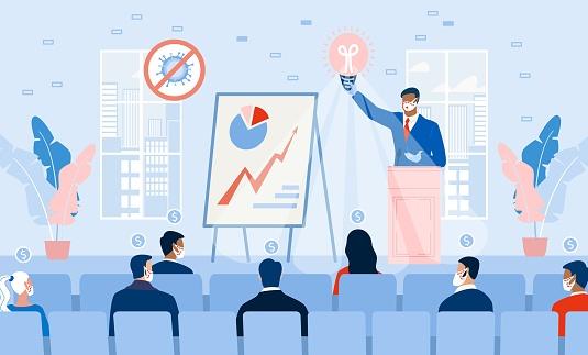 Business Seminar Profitable Strategy Idea on Stage