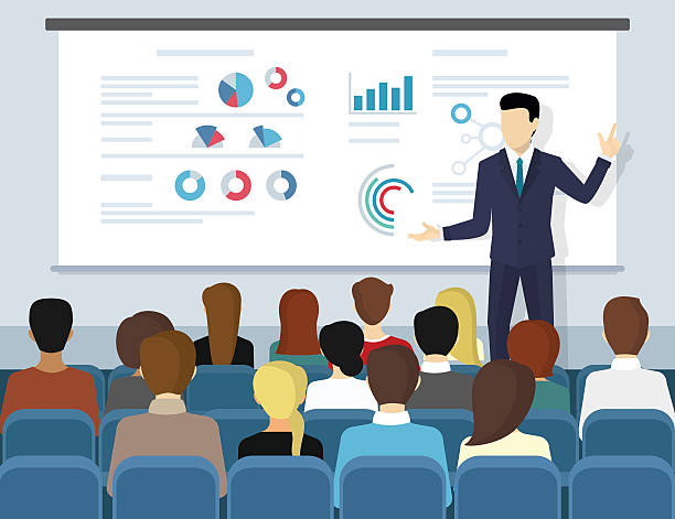 Business seminar speaker doing presentation and professional training Business seminar speaker doing presentation and professional training about marketing, sales and e-commerce. Flat illustration of public conference and motivation for business audience showing stock illustrations
