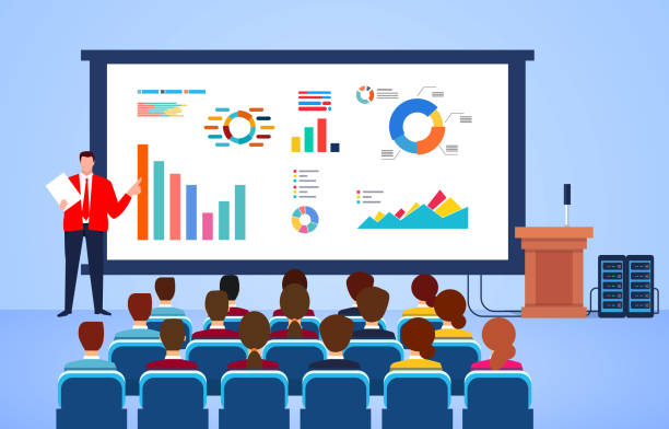 Referent für Business Seminar, Finanz- und Finanzdatenanalyse, Marketing, Vertrieb und E-Commerce-Schulung – Vektorgrafik