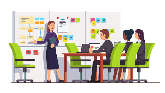Business seminar students people listen to consultant showing on scrum task board. Conference meeting room interior. Flat isolated vector