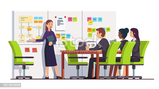 istock Business seminar students people listen to consultant showing on scrum task board. Conference meeting room interior. Flat isolated vector 1021823028