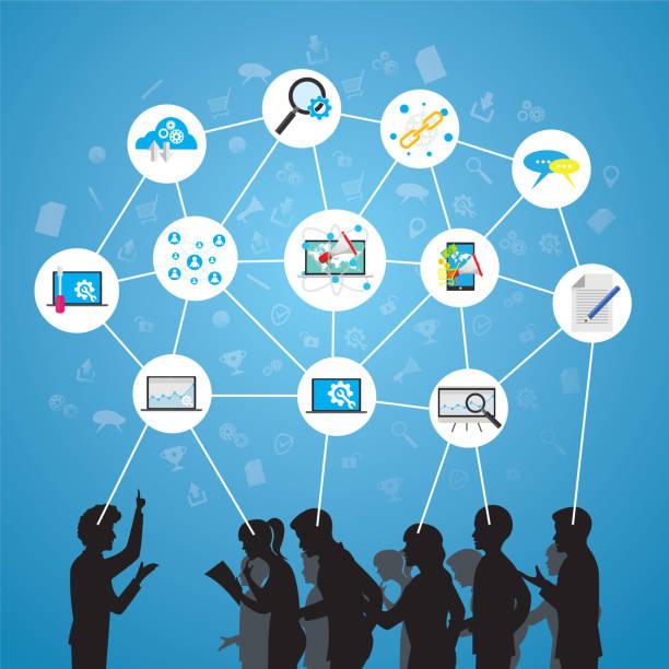 ilustraciones, imágenes clip art, dibujos animados e iconos de stock de concepto de trabajo en equipo negocio seminario - reunión evento social