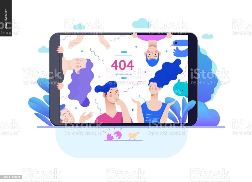 Business series - error 404 web template vector art illustration