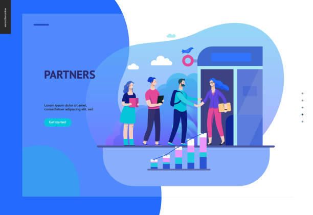 business-serie - partner-web-vorlage - webdesigner grafiken stock-grafiken, -clipart, -cartoons und -symbole