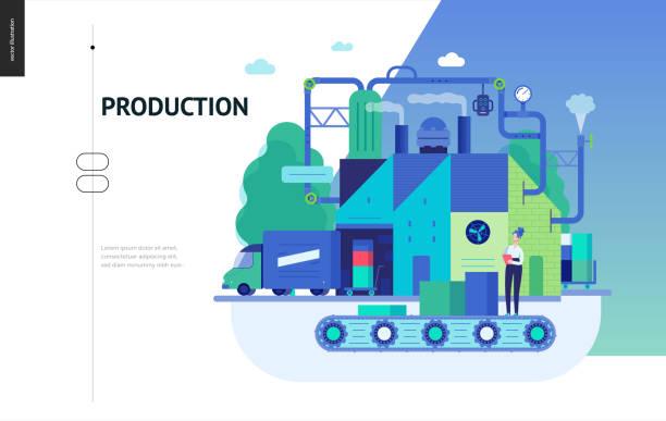 ilustrações, clipart, desenhos animados e ícones de série de negócios - modelo de produção web - fábrica
