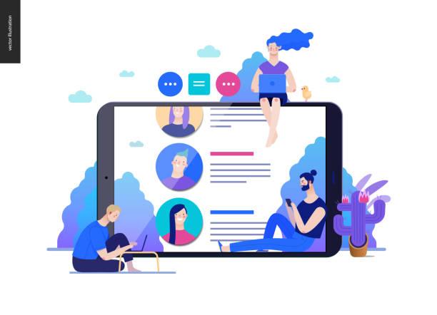 illustrations, cliparts, dessins animés et icônes de série business - critiques, modèle web - infographie médias sociaux