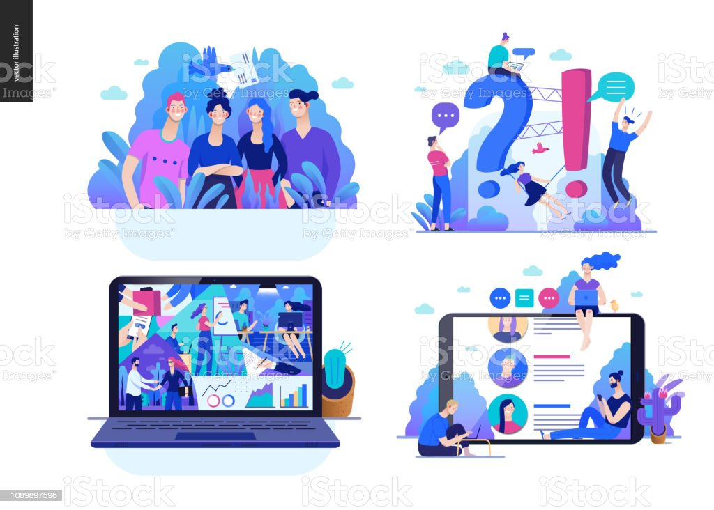 Business series - set Business series set, color 2 -modern flat vector concept illustrated topics - about the company, faq - support, office life, reviews. Creative landing web page design template Adult stock vector