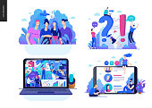 Business series set, color 2 -modern flat vector concept illustrated topics - about the company, faq - support, office life, reviews. Creative landing web page design template