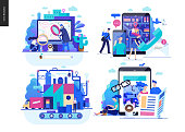 Business series set, color 2 -modern flat vector concept illustrated topics - search page, contacts, production, news. Creative landing web page design template