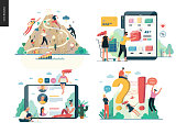 Business series set, color 1 -modern flat vector concept illustrated topics - career, buy online shopping, reviews, faq - question and answer. Creative landing web page design template