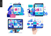 Business series set, color 2 -modern flat vector concept illustrated topics - buy online shop, about the company - office life, online expert - consulting. Creative landing web page design template