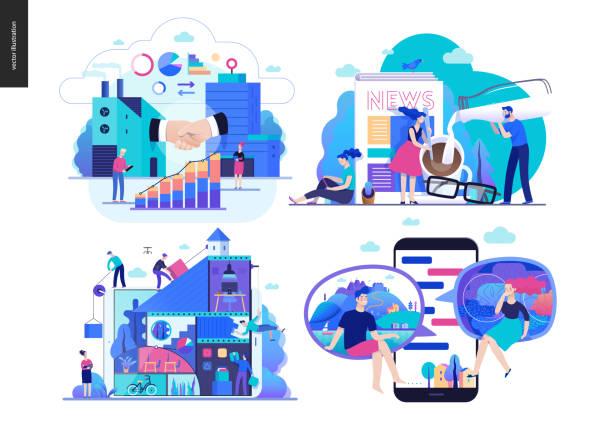 ilustraciones, imágenes clip art, dibujos animados e iconos de stock de serie de negocios- - infografías de industria