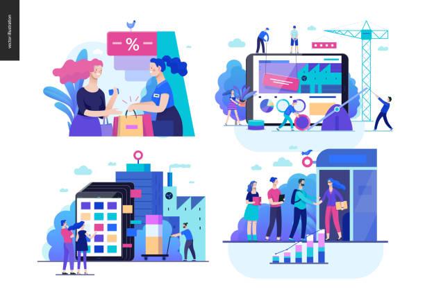 stockillustraties, clipart, cartoons en iconen met business serie- - webshop