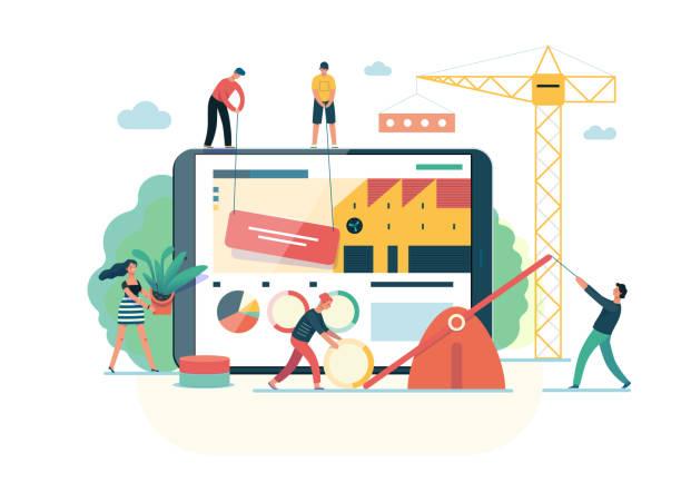 illustrazioni stock, clip art, cartoni animati e icone di tendenza di business series - teamwork and collaboration web template - realizzazione