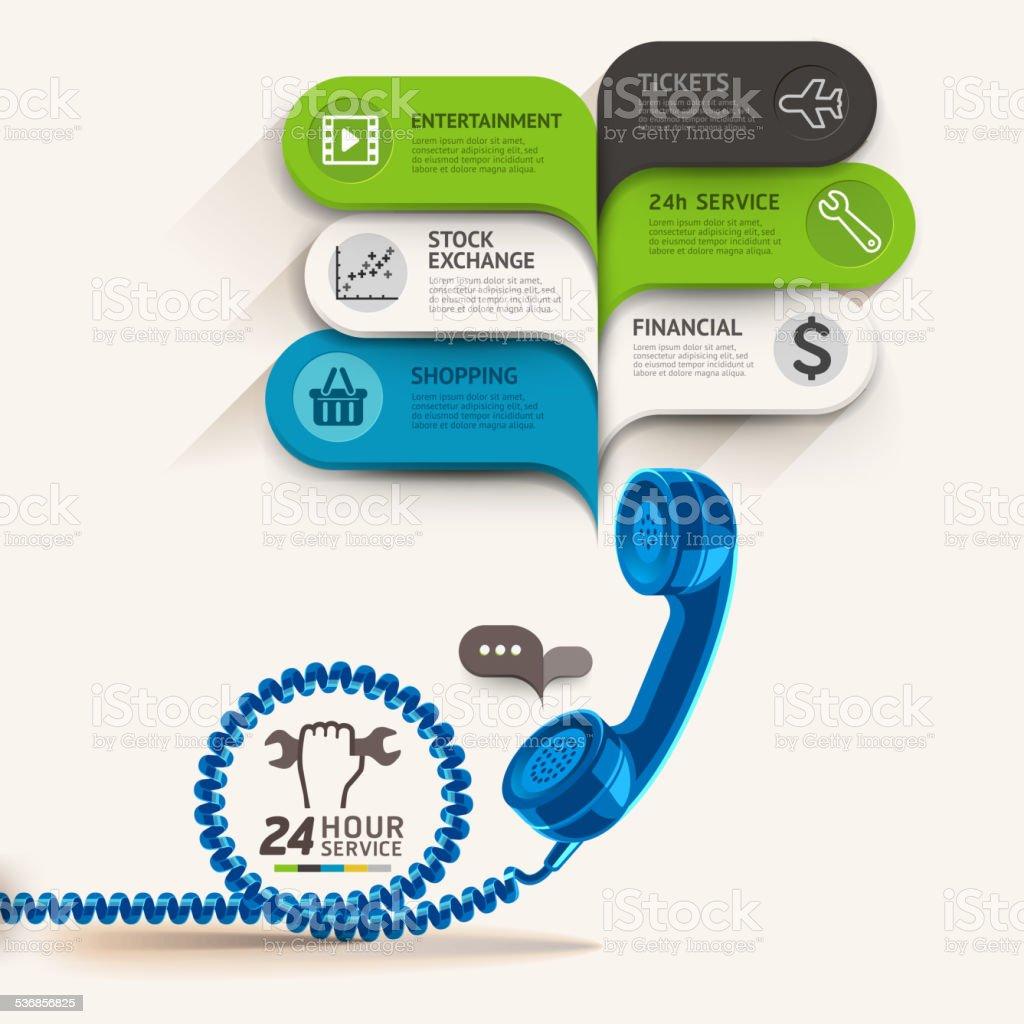 Business-service-icons und Telefon mit Blase Rede Vorlage. – Vektorgrafik