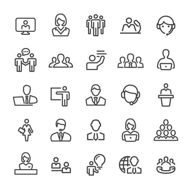 Business Service Icons - Smart Line Series Business, Service, audience stock illustrations