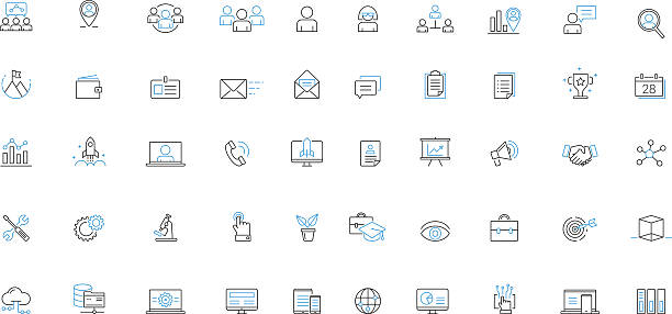 Business Services Solutions Vector icon set Business Services Solutions Line Thin Vector icon set blue icons stock illustrations