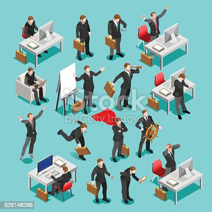 Businessman isometric people collection. Business meeting characters infographic icons. Flat 3D vector isolated business man
