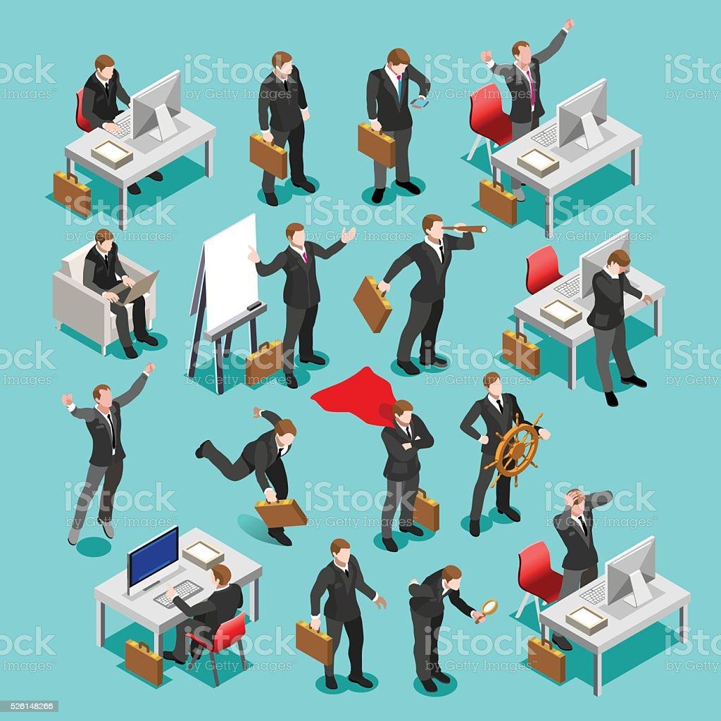 Business Set Isometric People vector art illustration
