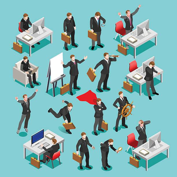 business-set isometrische personen - flat icons stock-grafiken, -clipart, -cartoons und -symbole