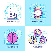 Business - set of line design style colorful illustrations. Pink and blue images of resumes, watch and calendar, brain, lightbulb. Human resources, time management, brainstorming, teamwork concepts