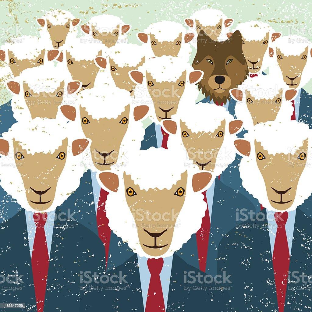 Business sheep wolf intruder spy undercover agent danger threat vector art illustration
