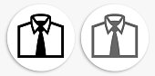 Business Shirt Black and White Round Icon. This 100% royalty free vector illustration is featuring a round button with a drop shadow and the main icon is depicted in black and in grey for a roll-over effect.