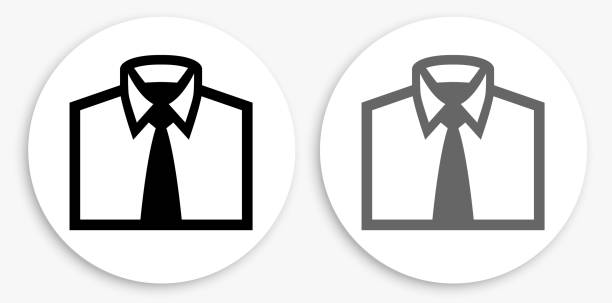 Business Shirt Black and White Round Icon vector art illustration