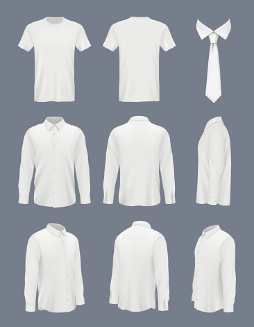 Business shirt for men. Male luxury shirt with long sleeve and tie clothes mockup uniforms decent vector pictures set