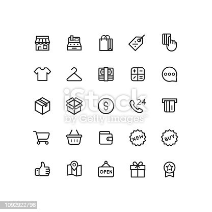 Set of business and shopping outline vector icons.