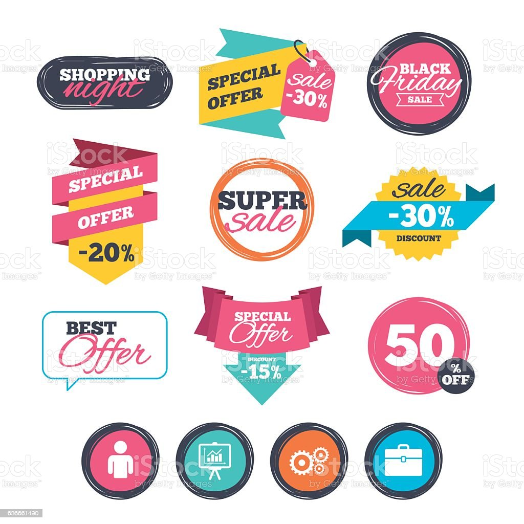 Business signs. Human and presentation board. vector art illustration
