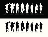 eight business people / all of them in silhouette/ 2 colour formats