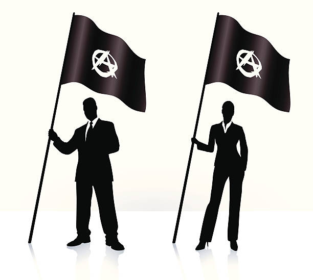Business silhouettes with waving Anarchy flag  anarchy symbol stock illustrations