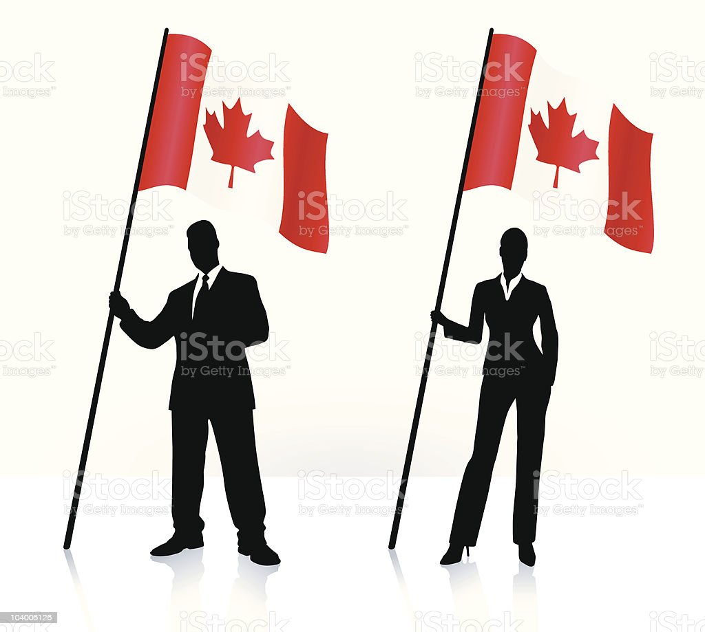 Business silhouettes with waving flag of Canada royalty-free stock vector art