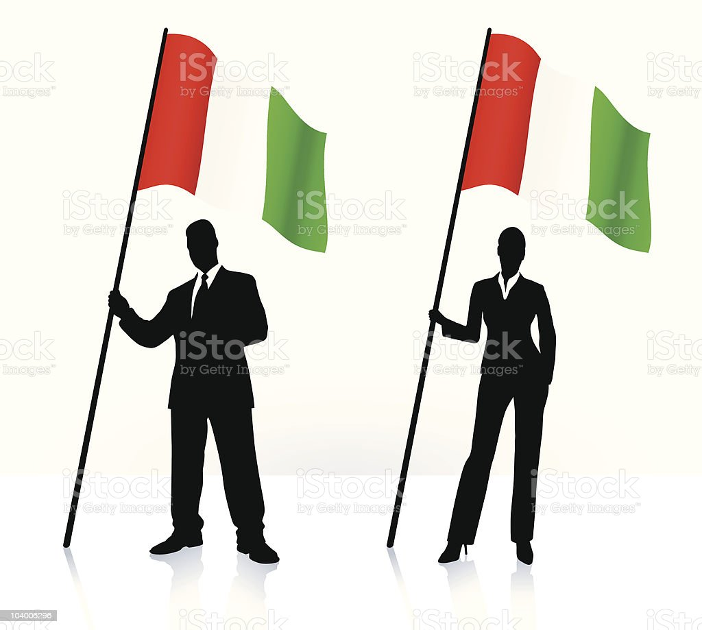 Business silhouettes with waving flag of Italy royalty-free stock vector art