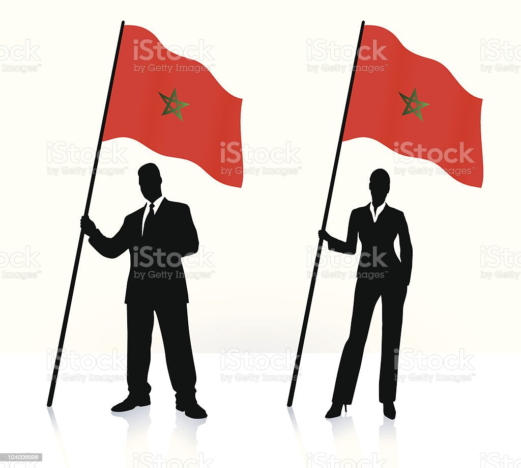 Business silhouettes with waving flag of Morocco royalty-free stock vector art