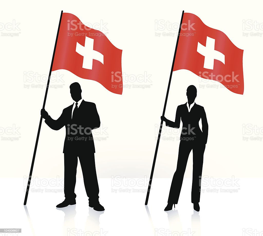 Business silhouettes with waving Swiss flag royalty-free business silhouettes with waving swiss flag stock vector art & more images of adult
