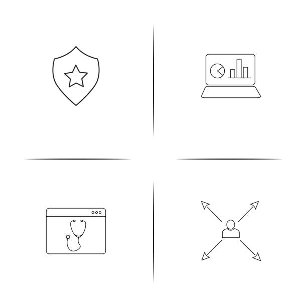 Business simple linear icon set. Outline icons vector art illustration