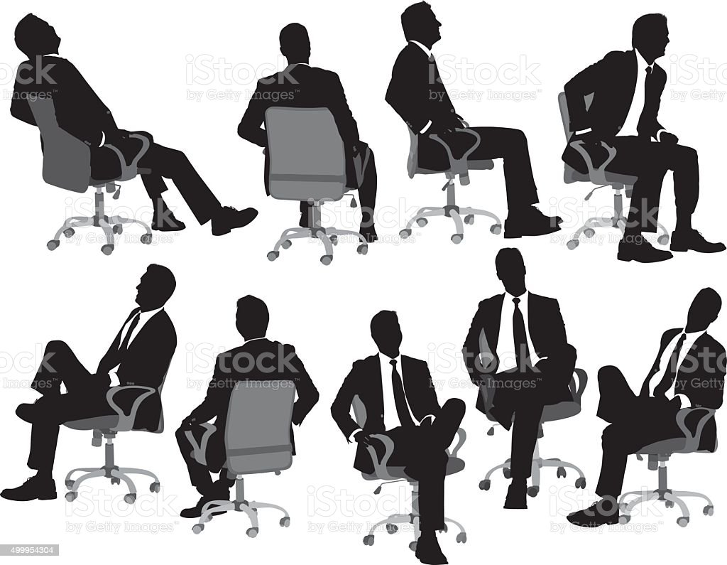 Business sitting on chair vector art illustration