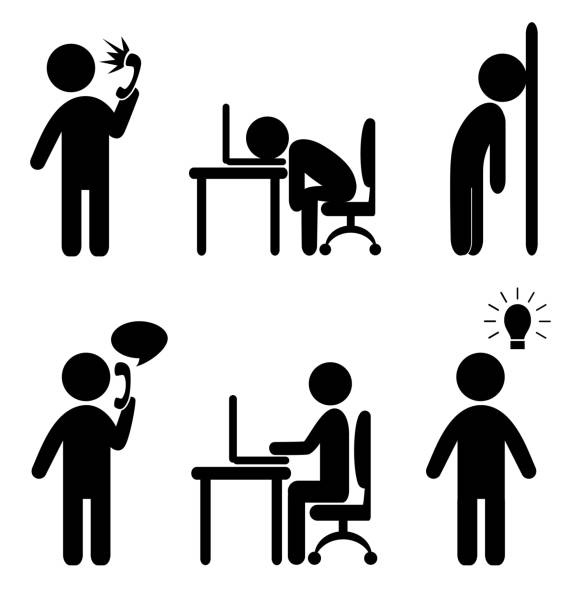 business situation icons Set of business office situation flat icons isolated on white background frustration stock illustrations