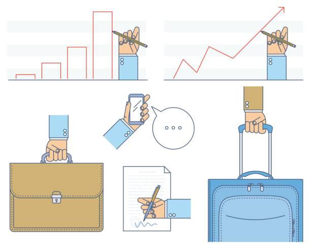 Affaires des situations contour set vector illustration concept. - Illustration vectorielle
