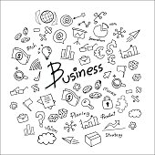 business sketch vector icon set on whiteboard